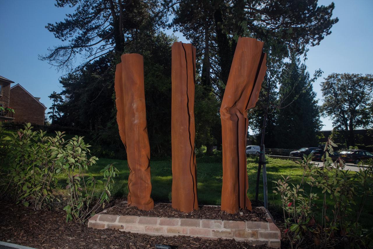 Three Corten Steel sculptures