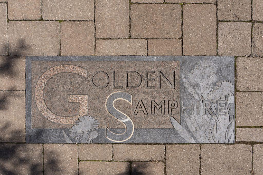 detail of bespoke granite unit on driveway
